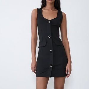 NWT Zara Black Gem Buttoned Mini Dress